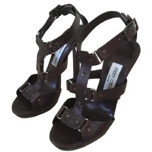 Jimmy Choo Dk Brown Leather Sandals